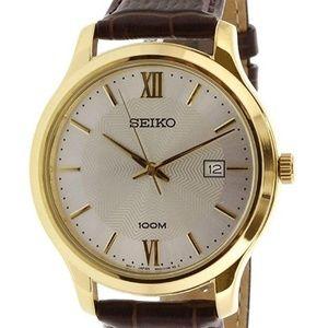 Seiko Neo Classic Quartz Men's Leather Watch SUR29